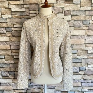 Chico's Open Front Embroidered Eyelet Jacket Sz 2